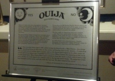 Ouija Plaque for Building where Ouija was named in 1980